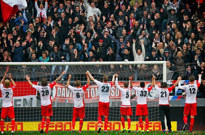 Feest in Utrecht na de 6-4 overwinning op Ajax in 2011.