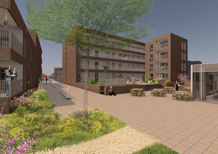 Doorheen het project komt een wandelweg die passeert langs het terras van het toekomstig dienstencentrum.