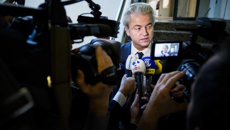 Geert Wilders, hier in de Tweede Kamer, ontkende het gezag van de Nederlandse rechtbank Beeld Bart Maat / ANP