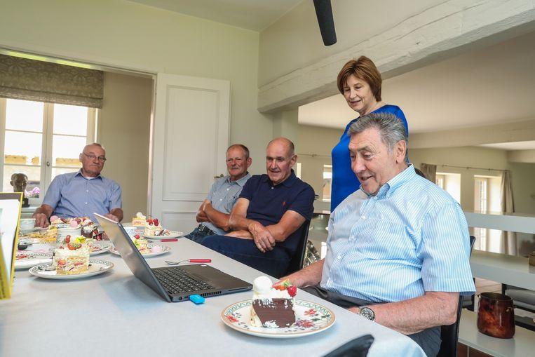 Op verjaardagsbezoek bij Merckx in Meise.