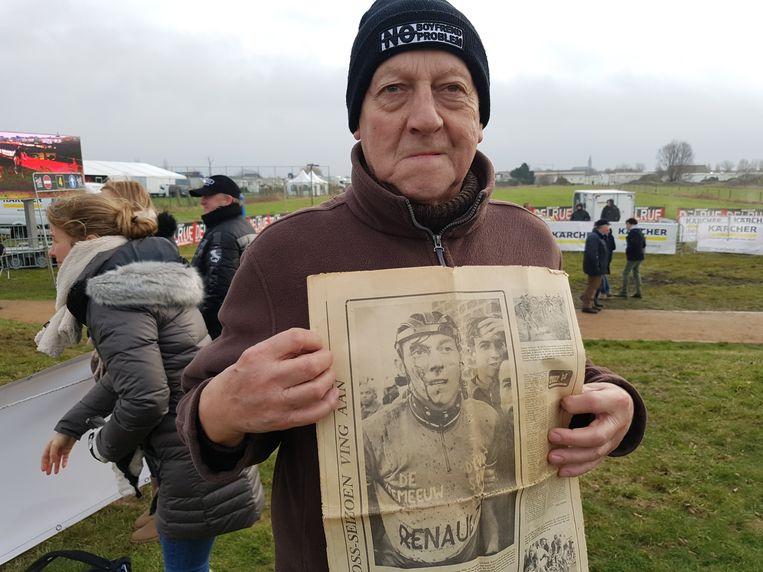 Lionel Dekeyser (72) op de Brico Cross in Bredene, die hij precies vijftig jaar geleden op zijn naam schreef. Zijn bebloed gezicht stond toen paginagroot in de krant.