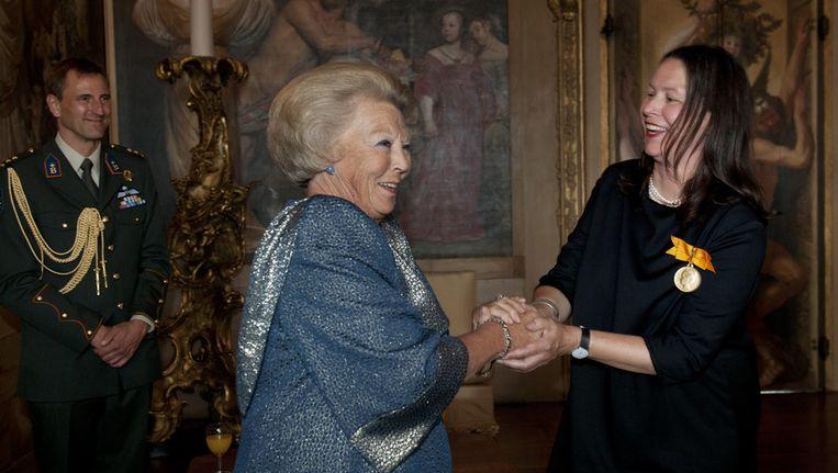Koningin Beatrix en Boom (r), vanmiddag. Beeld ANP