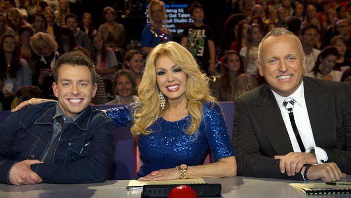 De juryleden Dan Karaty (links), Patricia Paay en Gordon van Holland's Got Talent.
