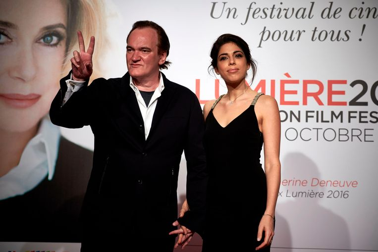 Quentin Tarantino en Daniella Pick op het Lumière Film Festival in Lyon op 8 oktober 2016.