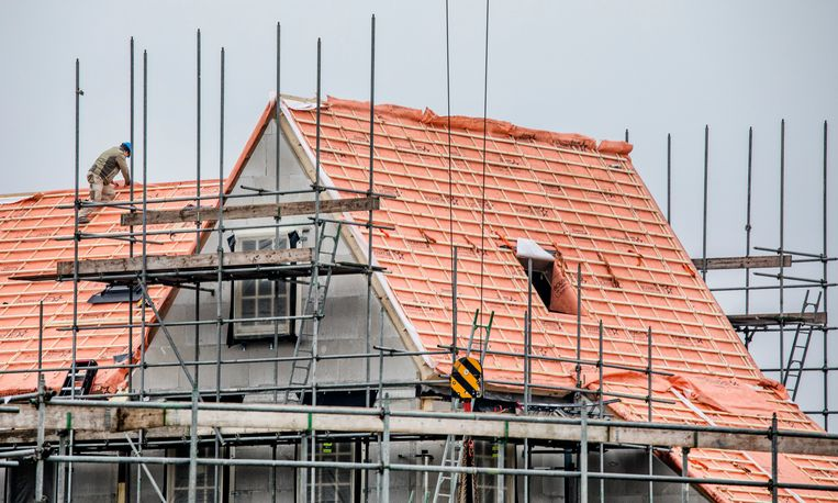 Een woning in aanbouw in Amersfoort. Beeld Raymond Rutting / de Volkskrant