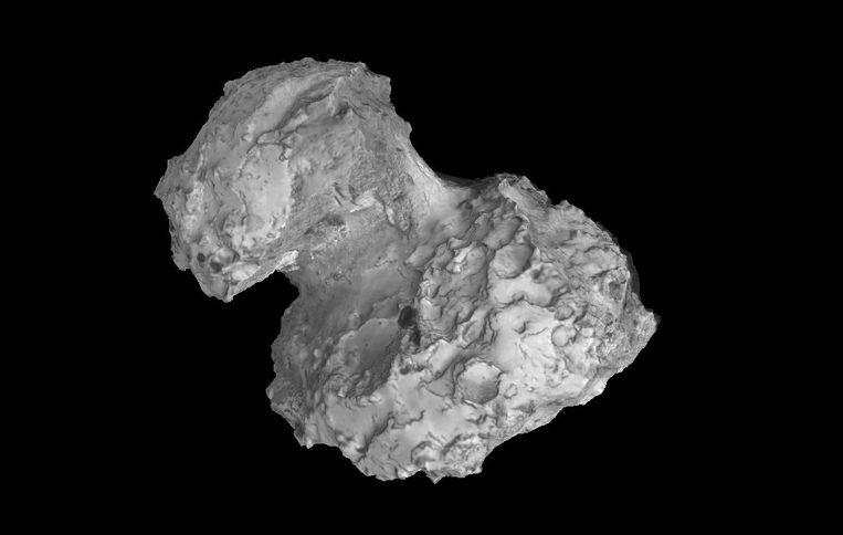 3D-model van de kern van komeet 67P/Churyumov-Gerasimenko. Beeld Rosetta/3D-beeldbewerking: Mattias Malmer