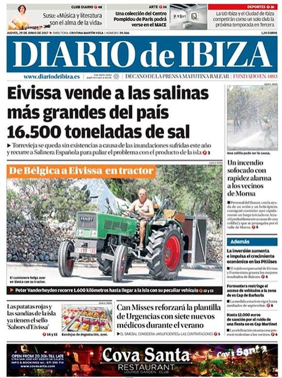 Op Ibiza zien ze wel vaker gekke dingen, maar dít hadden ze nog nooit gezien en prompt belandde de Belg op de voorpagina van een krant.