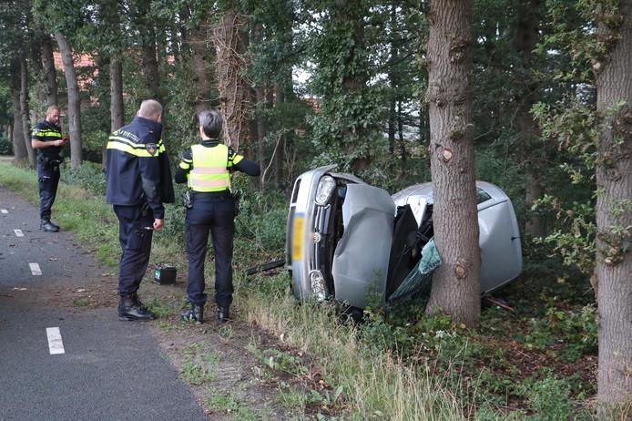 De gecrashte auto in Albergen