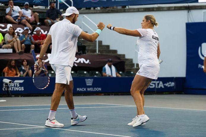 Kim Clijsters a d'abord disputé le double mixte avec l'Américain Jack Sock, face à la Canadienne Eugenie Bouchard et l'Américain Rajeev Ram.