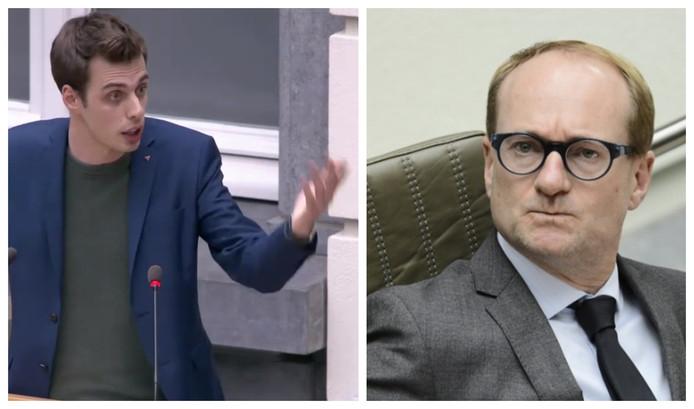 PVDA-fractieleider Jos D'Haese hekelde de dure leasingwagens van de Vlaamse regering. Foto rechts: Vlaams minister Ben Weyts beantwoordde de parlementaire vraag.