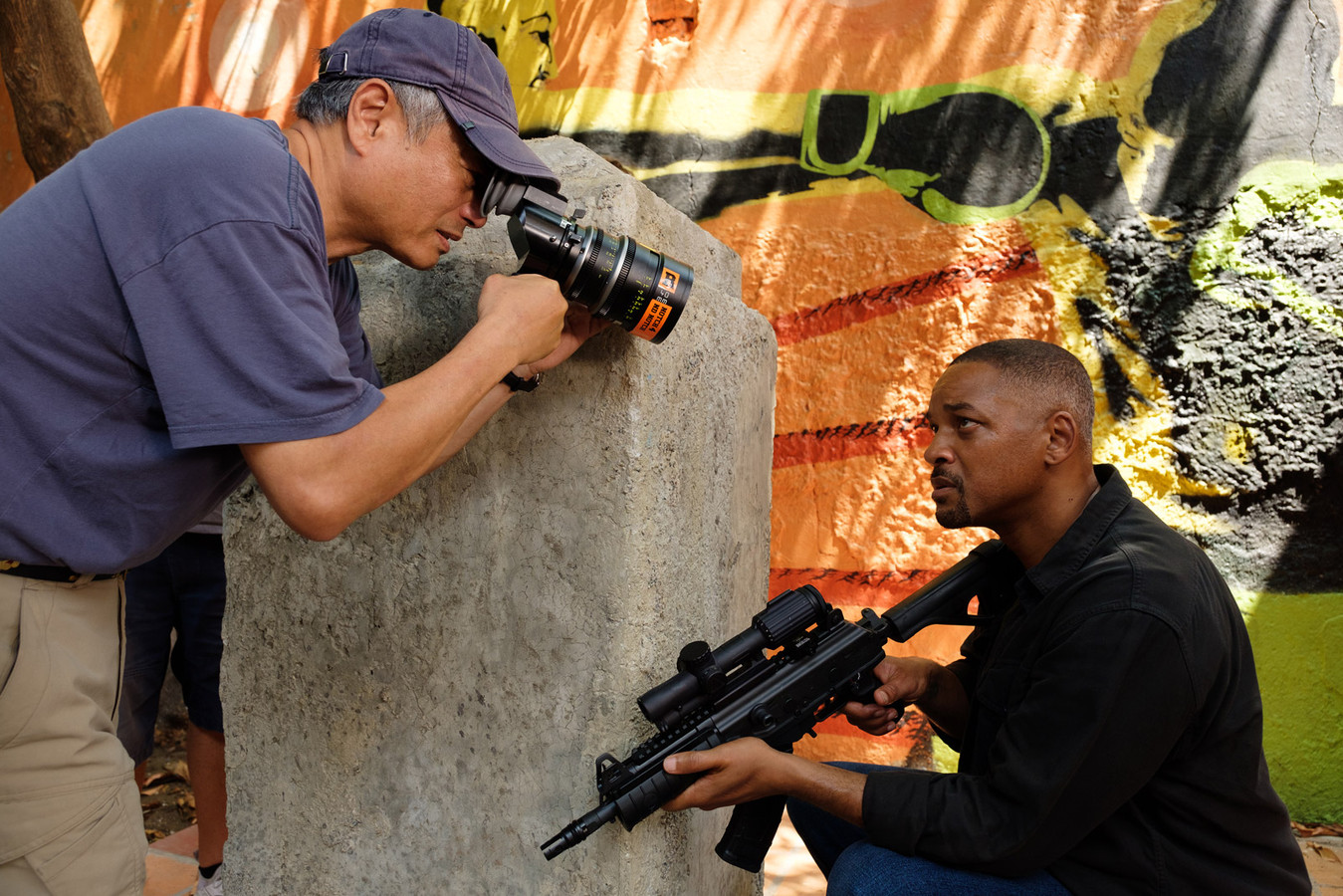 "Ang Lee et Will Smith sur le tournage de ""Gemini Man""."