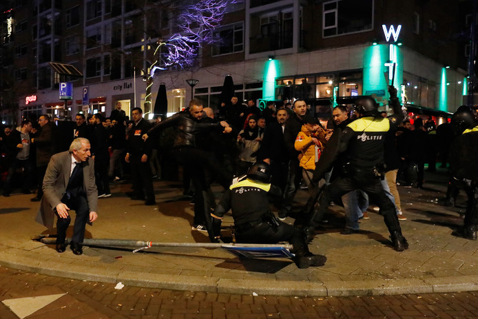 Foto ter illustratie. Rellen bij het Turkse consulaat aan Westblaak.