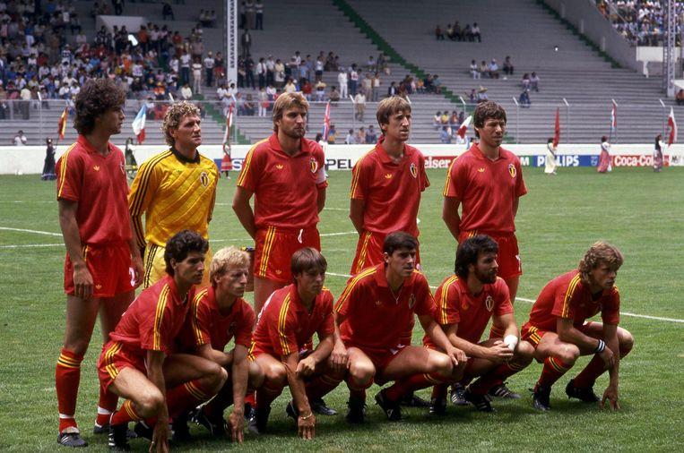 De basisopstelling van België-Irak tijdens het WK van 1986.