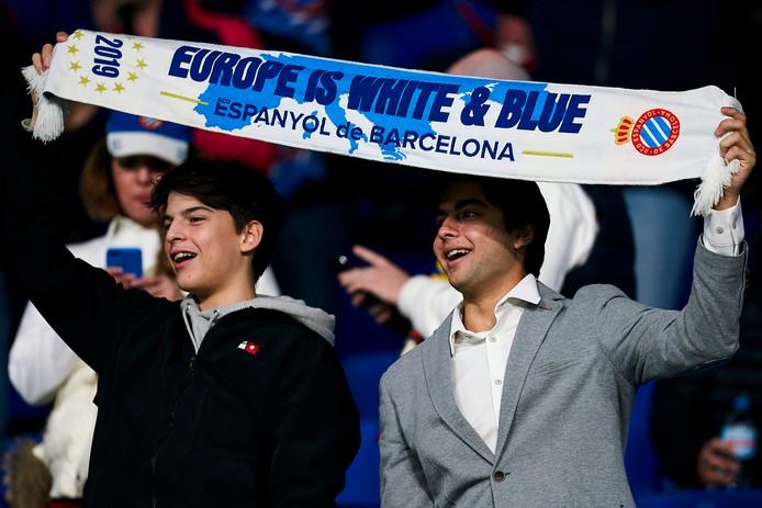 Supporters van Espanyol bij de thuiswedstrijd tegen CSKA Moskou gisteravond.