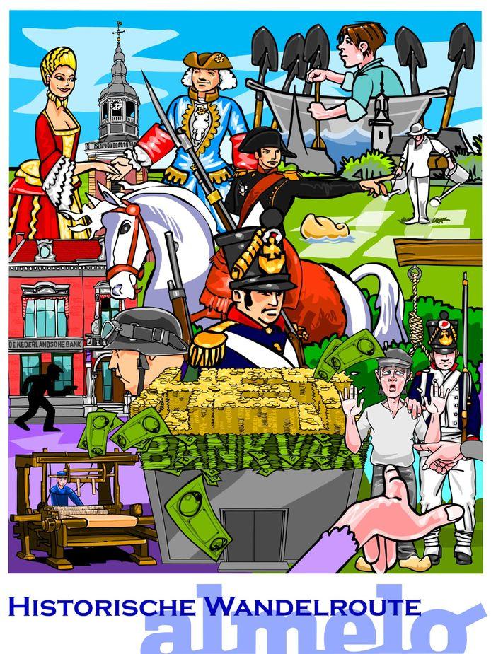 De kleurrijke tekenfilmpjes vertellen de wandelaars de geschiedenis van Almelo.