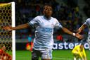 Donyell Malen juicht na zijn goal tegen BATE Borisov van afgelopen dinsdag.