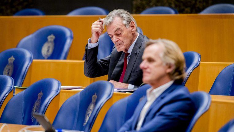 50Plus-Kamerlid Martin van Rooyen tijdens de poging tot filibuster dinsdagnacht. Beeld anp