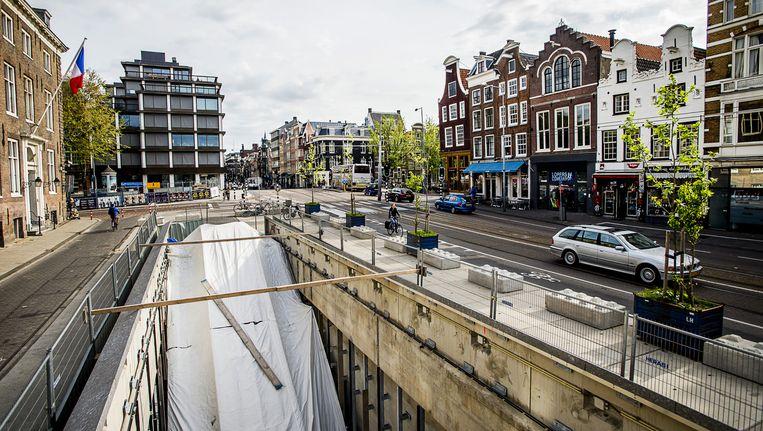De toekomstige ingang van de Noord/Zuidlijn op de Vijzelstraat. Beeld anp