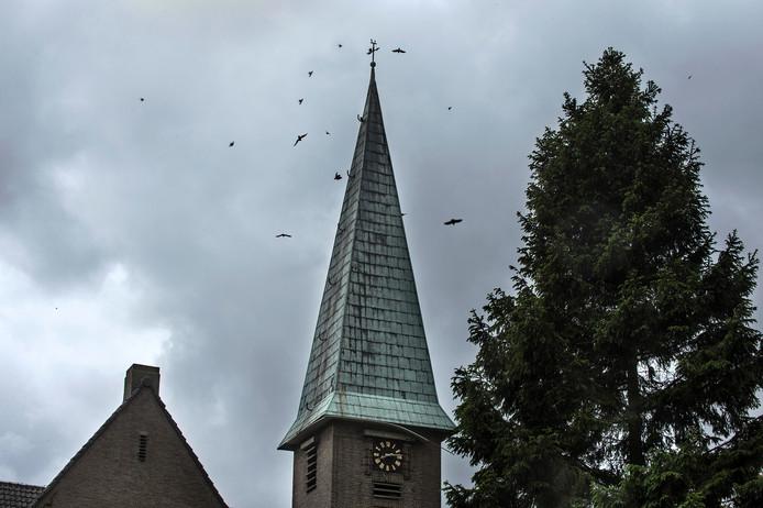 De torenspits van de Bathsewegkerk in Rilland.