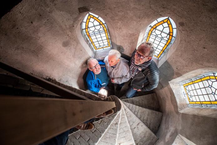 Rondleider Ben Mars, Hein Ulkeman en Albert Bergman in de top van de toren.