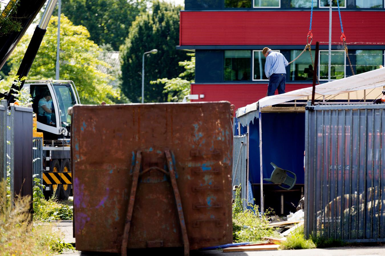 De ontruiming van het supportershome van FC Den Bosch in 2017.