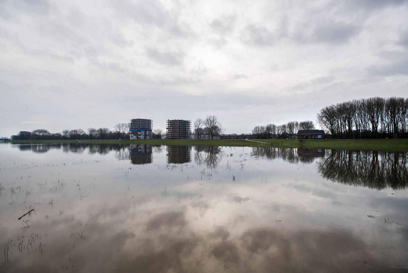 Hoogwater in de 'Groene Rivier' tussen Stadsblokken en Malburgen-West in januari 2018.
