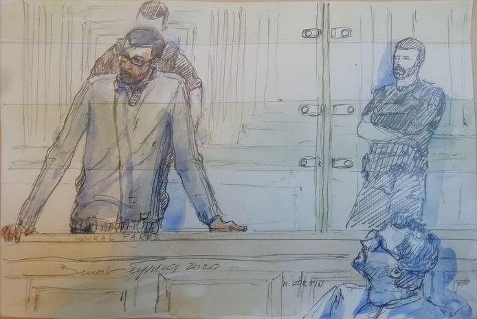 Mourad Fares croqué au procès, le 20 janvier 2020