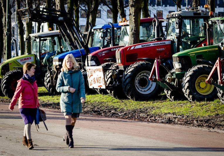 Boeren protesteren op het Malieveld in Den Haag tegen het stikstofbeleid.  Beeld ANP