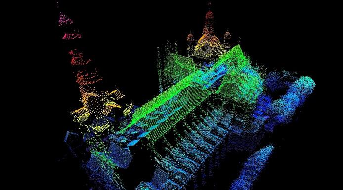 3D model van een kerk op basis van hoogtedata (Eugene Tjoa).