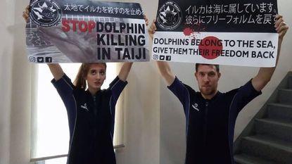 Dierenrechtenactiviste in Japanse cel