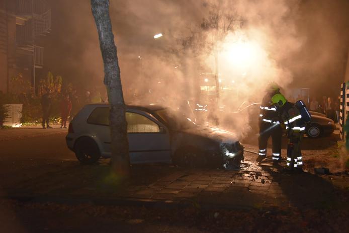 Een autobrand in Nijmegen