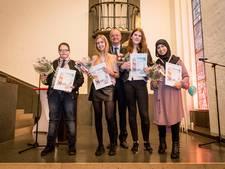 De Enschedese jeugdhelden van 2017: Jade, Eva, Tassnim en Danny