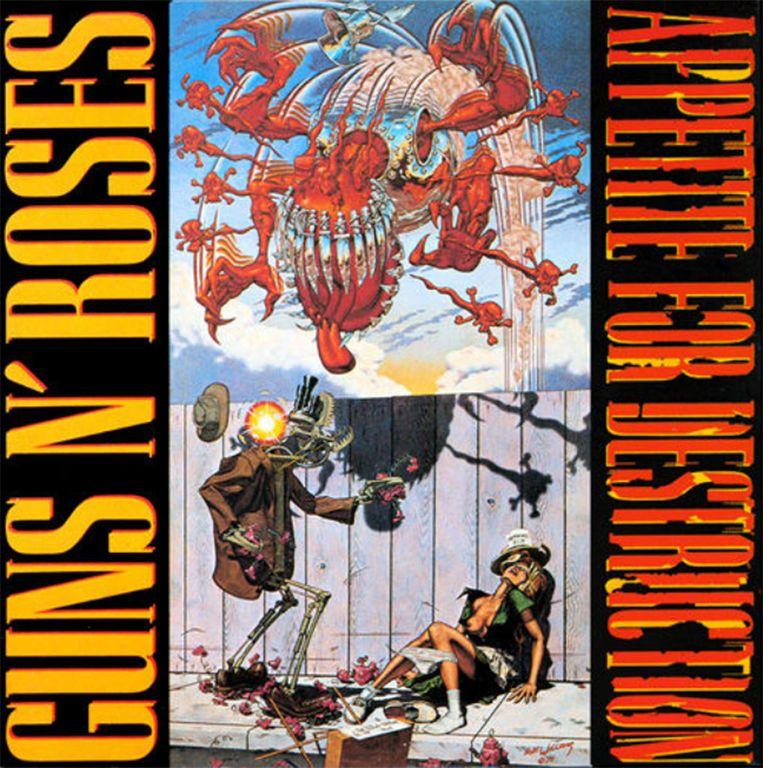 Het legendarische album 'Appetite for destruction' werd dertig jaar geleden uitgebracht. Het bevat hits als 'Welcome to the Jungle', 'Paradise City' en 'Sweet Child O' Mine'. De expliciete albumcover van een robot die een vrouw verkracht, moest later vervangen worden.