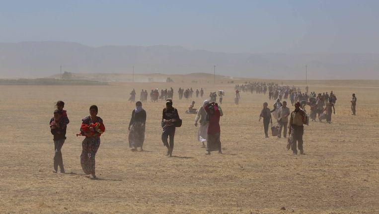 Duizenden yezidi's zijn op de vlucht geslagen voor het geweld van Isis. Beeld getty
