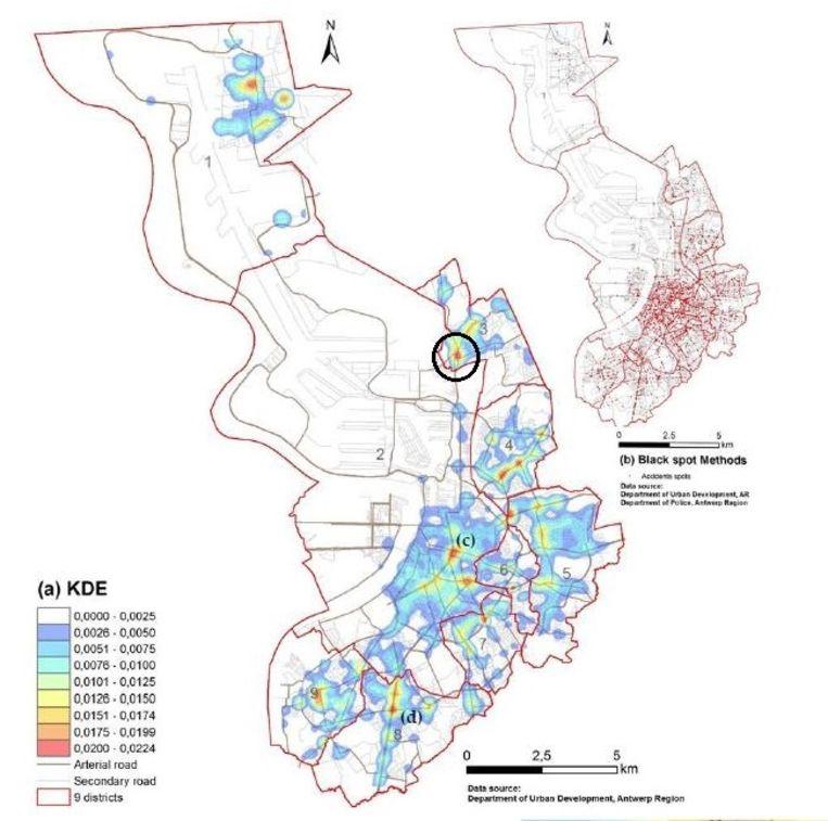 Een kaart van Antwerpen met de gebieden met de grootst kans op een fietsongeluk in het rood. De plaats van het ongeval van dinsdagnacht is omcirkeld.