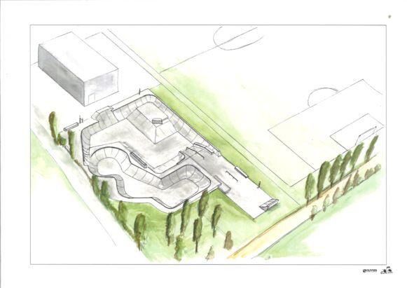 Een schets van het nieuwe skatepark.