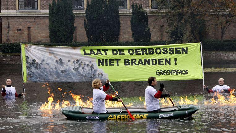 Protest Greenpeace tegen ontbossing. Beeld anp
