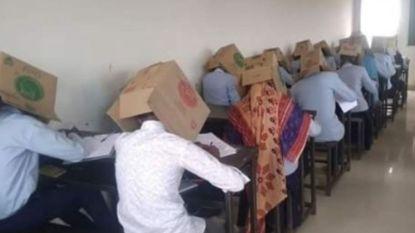 Leerlingen moeten kartonnen doos op hoofd zetten tijdens examen, school excuseert zich na grote ophef