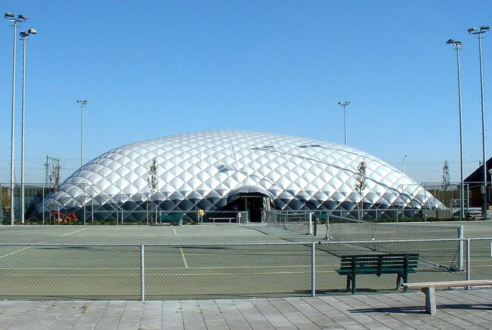 Een opblaasbare sportzaal van het bedrijf PolyNed