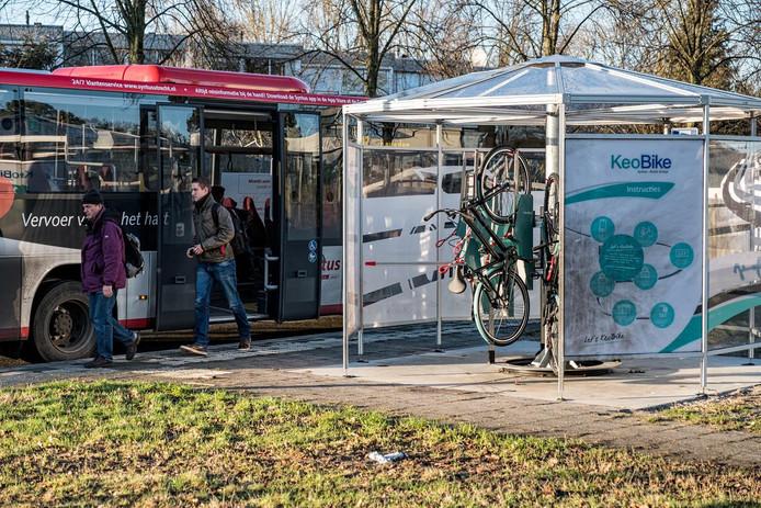 De KeoBike carrousel waarin de elektrische fietsen worden aangeboden.