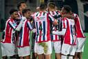 De selectie van Willem II viert een van de treffers tegen Sparta (4-0 zege).