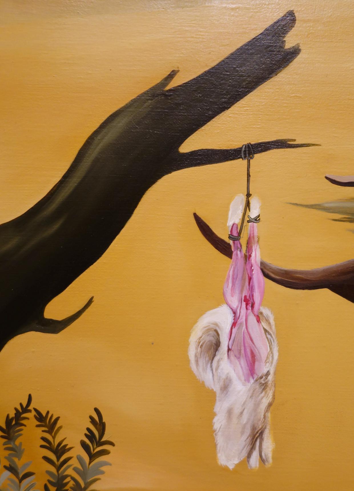 Sanam Khatibi, No one's Going Quietly, 2016, olieverf en potlood op doek, privécollectie. Het hangt in de expo Moesman/De tranen van Eros in Centraal Museum in Utrecht. Beeld privé collectie