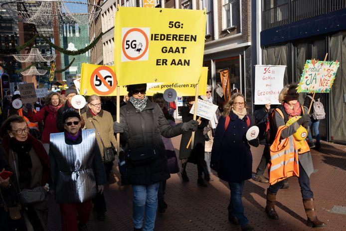 Een demonstratie tegen 5G in Eindhoven.