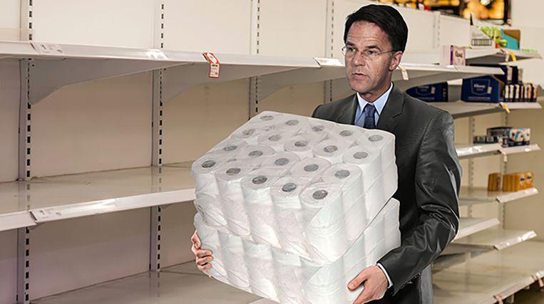 Premier Mark Rutte hamstert wc-papier Beeld De Speld