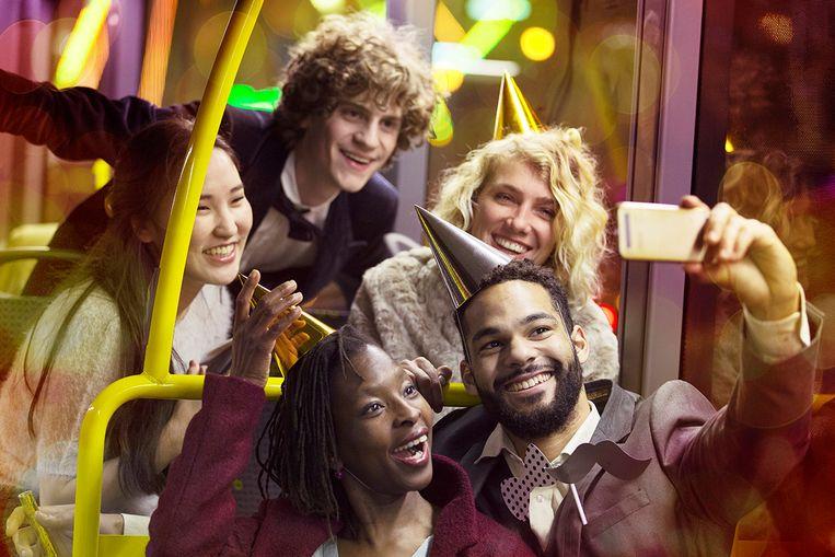 Sfeerbeeld van een feestbus.