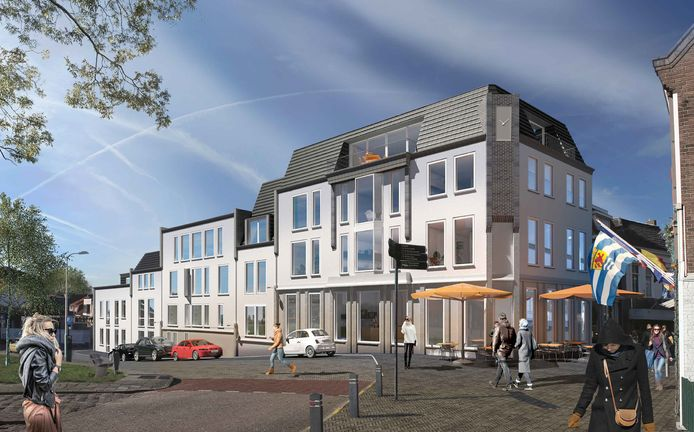 Impressie van het appartementencomplex wat het huidige gat op de Kop van de Noordstraat in Terneuzen gaat vullen.