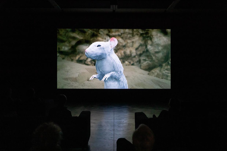 Jerry, de deterministisch materialistisch angehauchte supermuis, is de compagnon van de hoofdpersoon in de film Dreamlife van Melvin Moti.  Beeld Natascha Libbert