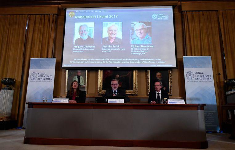 De bekendmaking van de winnaars van de Nobelprijs voor chemie.  Beeld AFP