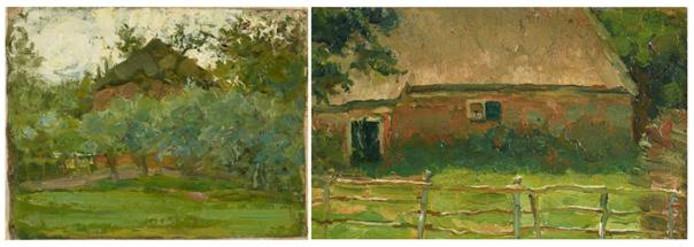 De twee landschapsschilderijen van Piet Mondriaan die door het Haags Kunstmuseum zijn aangekocht