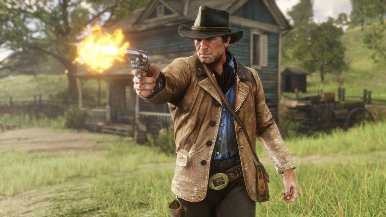Beeld uit game 'Red Dead Redemption II', waarin niet weinig felle schietpartijen de dienst uitmaken.